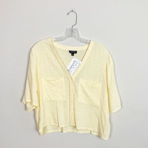 Topshop | yellow cropped button up blouse size 6
